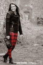 tartan Mango pants - Stradivarius boots - black Zara jacket