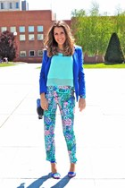 blue cotton Stradivarius blazer - floral print Zara pants - klein Primark heels