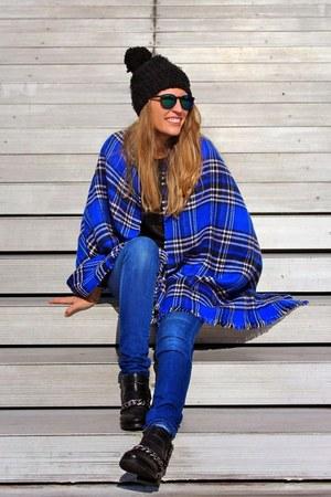 blue tartan Primark scarf - black faux leather Zara boots