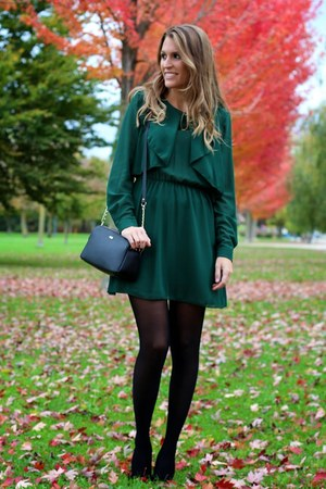 dark green i62 dress - black Paco Martinez bag - leopard print Carpe Diem heels