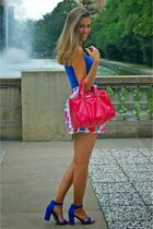 floral print skirt - hot pink Mango bag - blue Primark heels