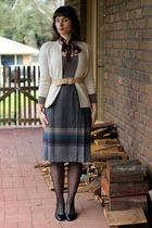 white cardigan - beige cardigan - beige top - beige belt - silver skirt - black