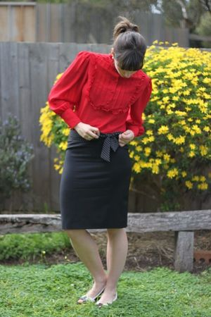 red vintage from etsy blouse - black herringbone skirt - blue vintage belt - bla