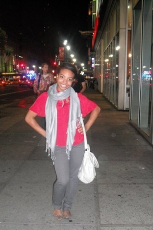 silver scarf - red Urban Outfitters blouse - gray jeans - brown H&M shoes - beig
