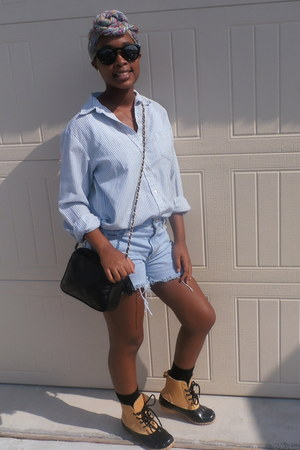 Duck Boots boots - thifted shirt - diy Levis shorts