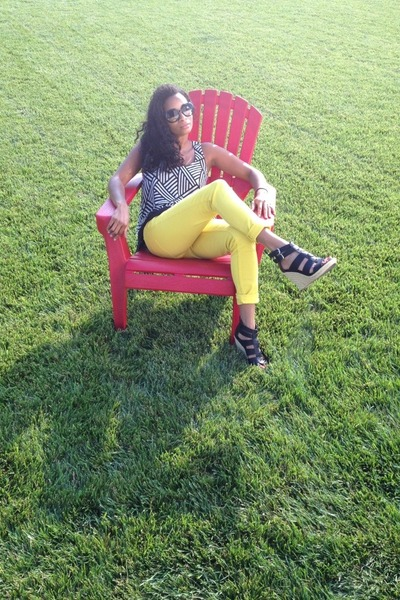 yellow Forever21 jeans - black espedrille heel Dolce Vita wedges - ivory top