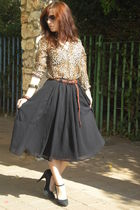 black Zara skirt - brown Zara blouse - brown Zara belt - black Nine West shoes -