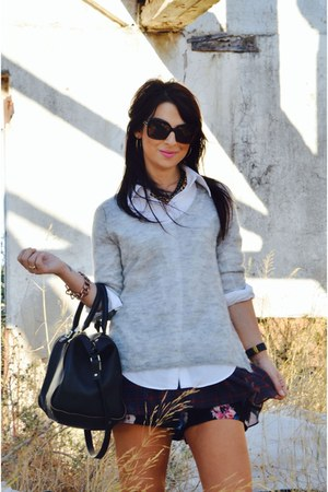 black shopper bag Zara bag - crimson Zara shorts - silver mohair Zara jumper
