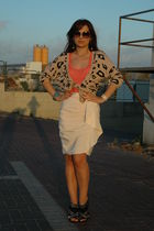 beige H&M skirt - Bershka cardigan - black Zara shoes - H&M cardigan - Zara blou