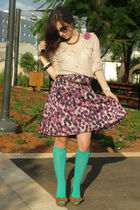 brown Zara shoes - brown castro belt - blue H&M socks - beige Zara blouse - purp