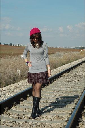 black Zara boots - silver Zara blouse - black Zara tights - Mango bracelet - Zar