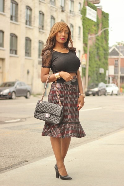winners skirt - Chanel bag - Forever 21 pumps - H&M top