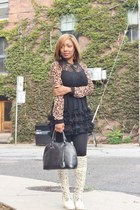 Bebe dress - Amazon boots - Forever 21 shirt - Ebay bag