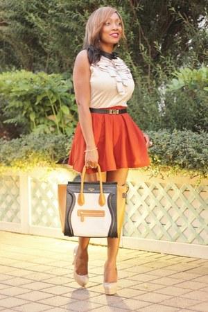Celine bag - Forever 21 skirt shorts - Tristan blouse - GoMax pumps