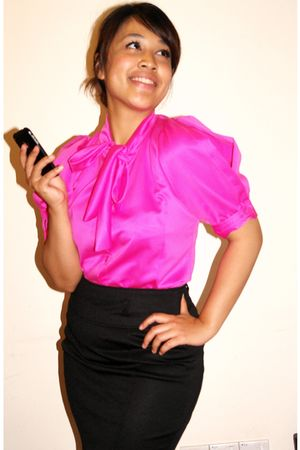 pink Online boutique blouse - black Zara skirt