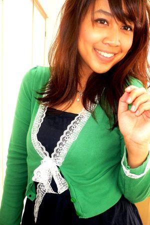 green Zara cardigan - blue Forever 21 dress