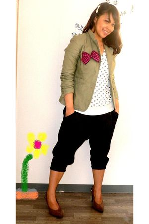 black earth n music pants - green Gap blazer - white vintage t-shirt