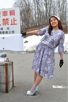 blue vintage dress - green unbranded shoes - black Forever 21 gloves - white For