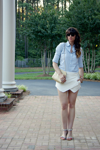 skort Zara skirt - chambray J Crew shirt - straw shoulder vintage bag