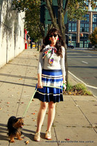striped pleated H&M skirt - tippi J Crew sweater - ray-ban sunglasses