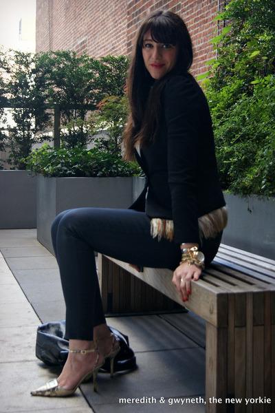 black Tinley Road blazer - waxed JBrand jeans - bow Valentino bag