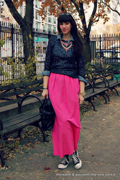 sequined J Crew top - J Crew shirt - bow Valentino bag - pink maxi J Crew skirt