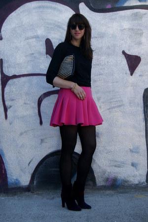 scuba H&M skirt - suede stuart weitzman boots - J Crew sweater