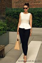 peplum Zara top - tote Zara bag - skinny J Crew pants