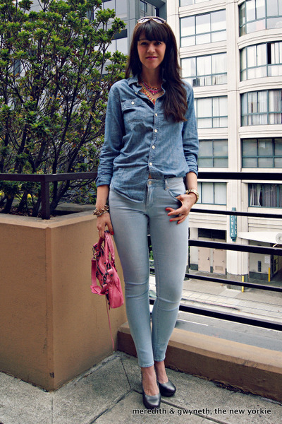 chambray J Crew shirt - skinny Articles of Society jeans