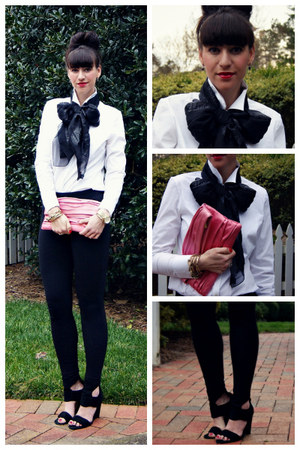 bow tie John Galliano scarf - pink foldover Nordstrom bag - pixie J Crew pants