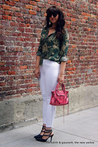 zippered J Brand jeans - camo piperlime shirt - balenciaga bag