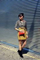 mini J Crew skirt - wedge Diane Von Furstenberg boots