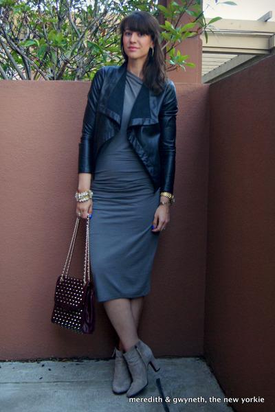 gold Michael Kors watch - suede sam edelman boots - draped Helmut Lang dress