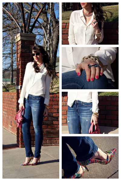 DIY necklace - destroyed Joes Jeans jeans - classic first balenciaga bag