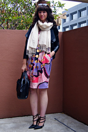 bow Valentino bag - pink printed asos dress - draped BB Dakota jacket