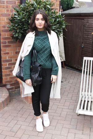 dark green next jumper - beige H&M coat - black Mulberry bag