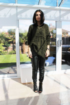 army green H&M jumper - black Kurt Geiger boots - black Forever 21 pants