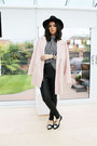 Light-pink-river-island-coat-black-miss-selfridge-hat-white-h-m-blouse