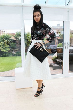 white Topshop skirt - black River Island bag - black new look blouse