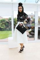 white Topshop skirt - black River Island bag - black new look blouse