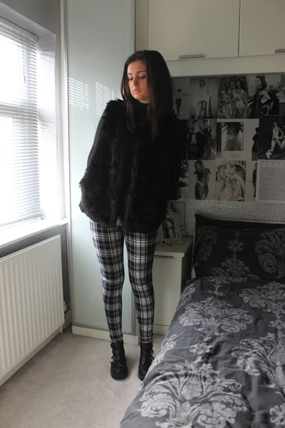 Missguided top - River Island boots - Topshop jacket - Dorothy Perkins leggings