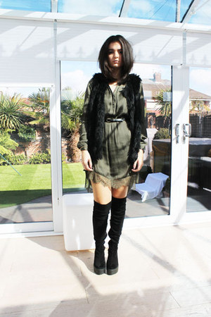 black River Island boots - olive green H&M dress - black Topshop coat