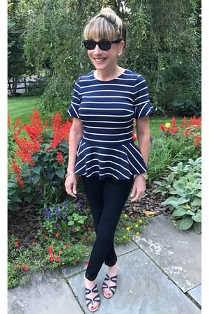 striped JCrew top - dark blue AG Adriano Goldschmied jeans