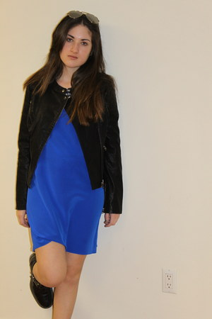silk CCH Collection dress - faux leather Topshop jacket