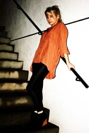 black shinywet look H&M leggings - carrot orange silk loose Miss Selfridge shirt