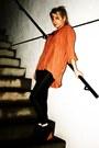 Black-shinywet-look-h-m-leggings-carrot-orange-silk-loose-miss-selfridge-shirt