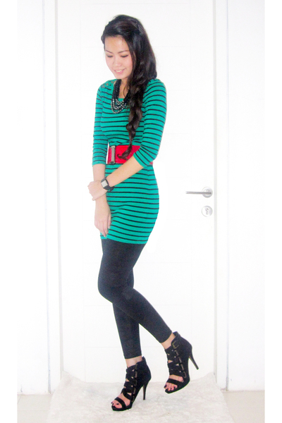 5ef88533 green H&M dress - red Mango belt - black Mango leggings - black Zara shoes -