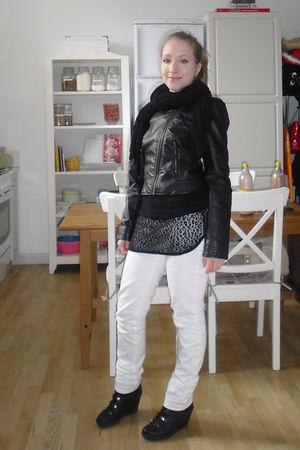 black H&M jacket - black Vero Moda top - white H&M jeans - black vagabond shoes