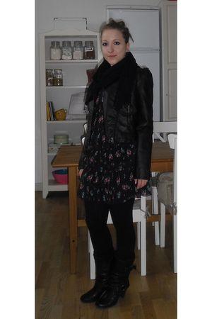 black Aldo boots - H&M dress - H&M jacket