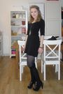 Black-mango-dress-black-dune-shoes-gold-owl-necklace-h-m-stockings